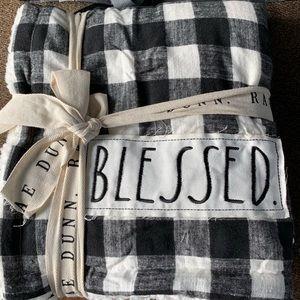 Rae Dunn Blessed Checkered Sherpa Blanket